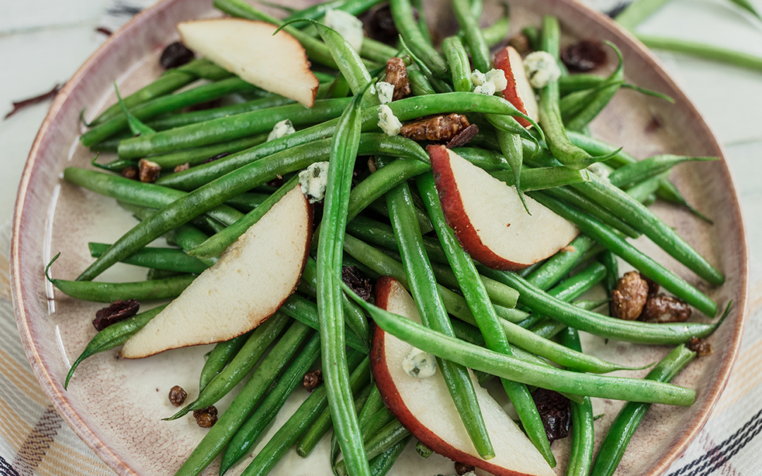French Beans with Pears and Blue Cheese